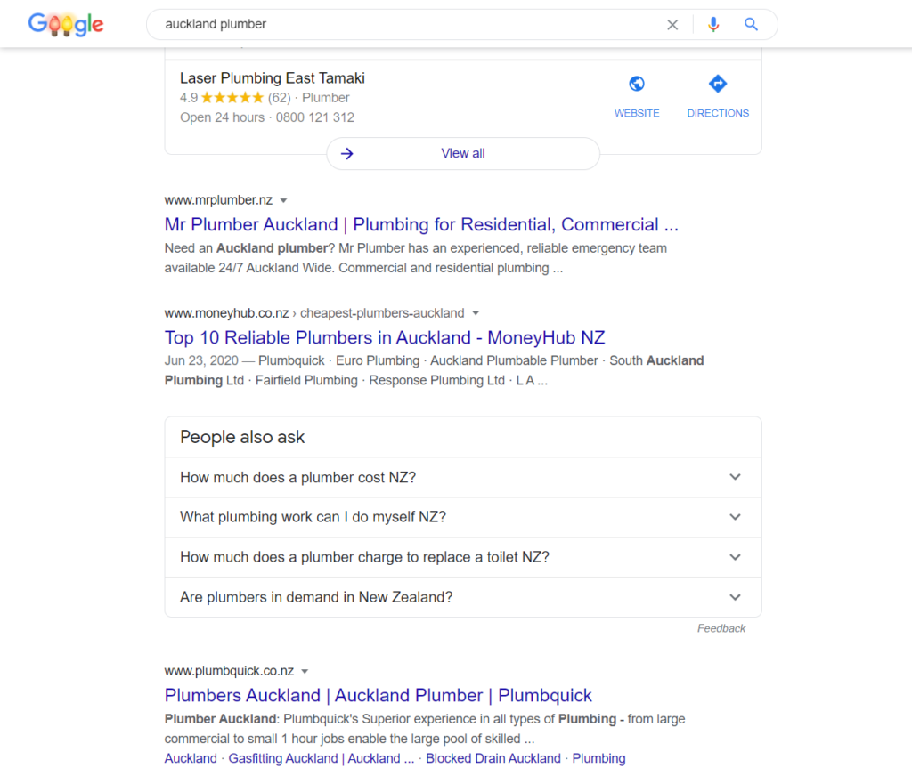 auckland plumber example seo services hnc digital